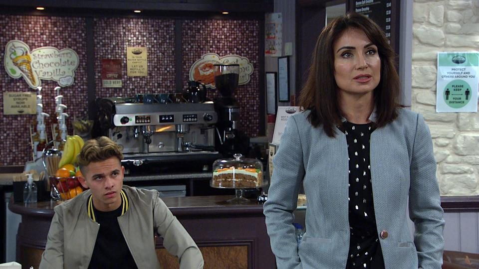 FROM ITV  STRICT EMBARGO  Print media - No Use Before Tuesday 10th August 2021 Online Media - No Use Before 0700 Tuesday 10th August 2021  Emmerdale - Ep 9128  Tuesday 17th August 2021  Jacob Gallagher [JOE WARREN PLANT] and Leyla Cavanagh  [ROXY SHAHIDI] in terse talks when Liam Cavanagh [JONNY McPHERSON] arrives and seems to make things worse for him and Leyla.   Picture contact David.crook@itv.com   This photograph is (C) ITV Plc and can only be reproduced for editorial purposes directly in connection with the programme or event mentioned above, or ITV plc. Once made available by ITV plc Picture Desk, this photograph can be reproduced once only up until the transmission [TX] date and no reproduction fee will be charged. Any subsequent usage may incur a fee. This photograph must not be manipulated [excluding basic cropping] in a manner which alters the visual appearance of the person photographed deemed detrimental or inappropriate by ITV plc Picture Desk. This photograph must not be syndicated to any other company, publication or website, or permanently archived, without the express written permission of ITV Picture Desk. Full Terms and conditions are available on  www.itv.com/presscentre/itvpictures/terms