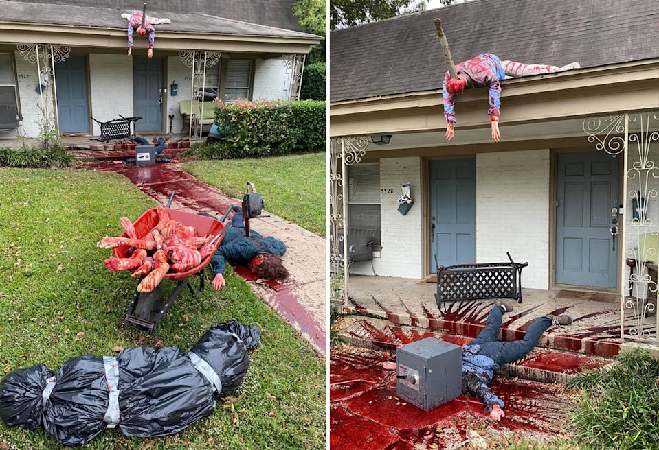Halloween decorations outside a home in Dallas with fake dead bodies and fake blood.