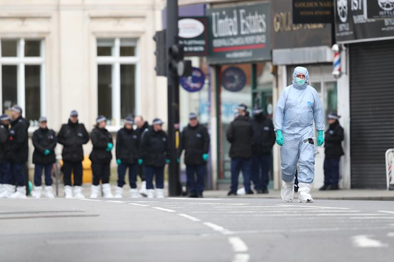 Police activity at the scene following the terror attack in Streatham High Road, south London by Sudesh Amman, 20, who was shot dead by armed police following what police declared as a terrorist-related incident.