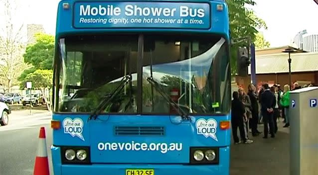 The mobile shower bus made its first stop in Sydney city. Photo: 7 News