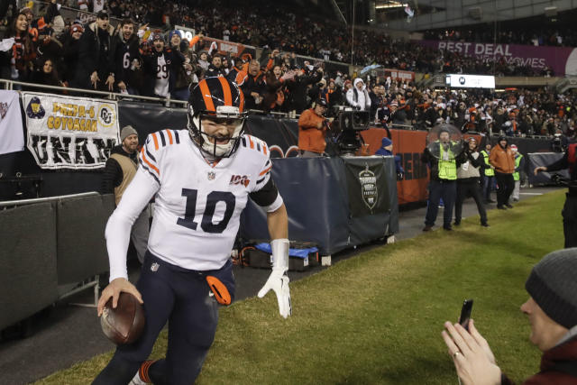 Chicago Bears quarterback Mitchell Trubisky (10) reacts after running for a touchdown during the second half of an NFL football game against the Dallas Cowboys, Thursday, Dec. 5, 2019, in Chicago. (AP Photo/Morry Gash)