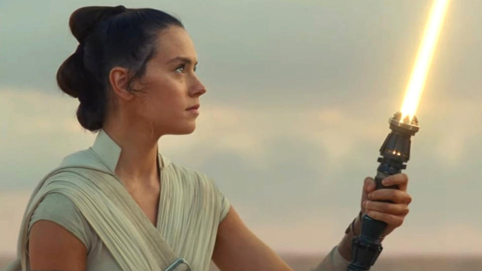 Daisy Ridley as Rey in the final moments of 'Star Wars: The Rise of Skywalker'. (Credit: Disney/Lucasfilm)