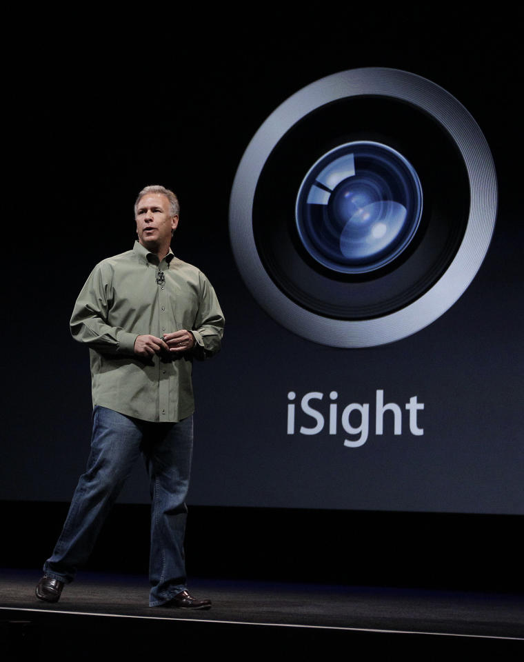 Phil Schiller, Apple's senior vice president of worldwide marketing, talks about the features of the new camera and iSight during an introduction of the new iPhone 5 at an Apple event in San Francisco, Wednesday Sept. 12, 2012. (AP Photo/Eric Risberg)