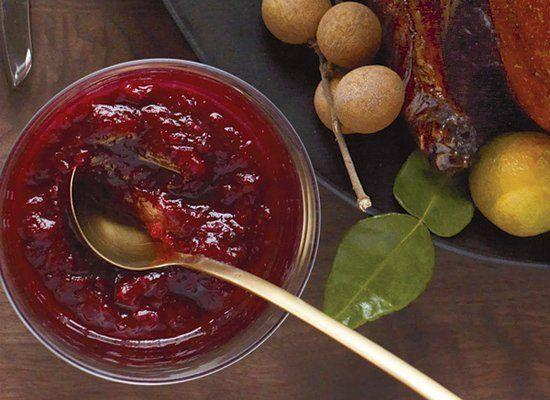 """<strong>Get the <a href=""""http://www.huffingtonpost.com/2011/10/27/cranberry-ginger-and-ora_n_1059610.html"""" target=""""_hplink"""">Cranberry, Ginger and Orange Chutney</a> recipe</strong>"""