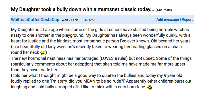 The proud mum shared her daughter's epic comeback online. Photo: mumsnet.com
