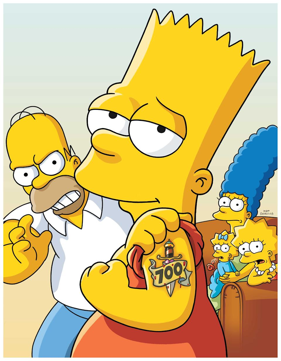 Of course, Bart Simpsons got a tattoo to celebrate the 700th episode of Fox's