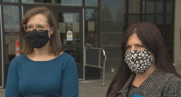 Crown prosecutors Malika Levesque, left, and Karen Lee speak to reporters outside the courthouse on Friday following the sentencing hearing.
