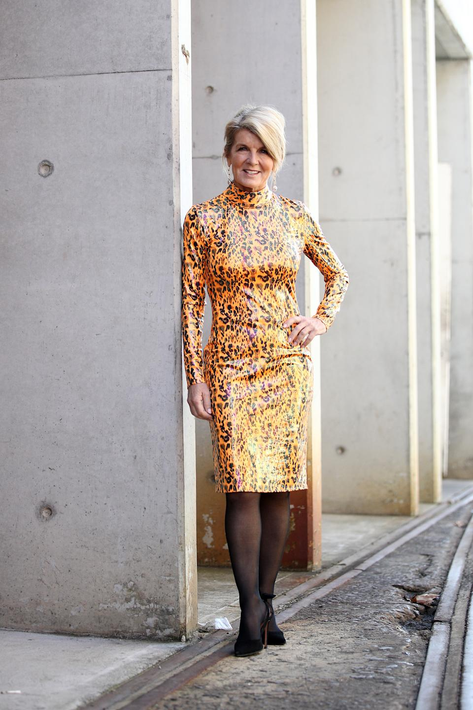 SYDNEY, AUSTRALIA - JUNE 02: Julie Bishop poses during the First Nations Fashion + Design show during Afterpay Australian Fashion Week 2021 Resort '22 Collections at Carriageworks on June 02, 2021 in Sydney, Australia. (Photo by Don Arnold/WireImage)