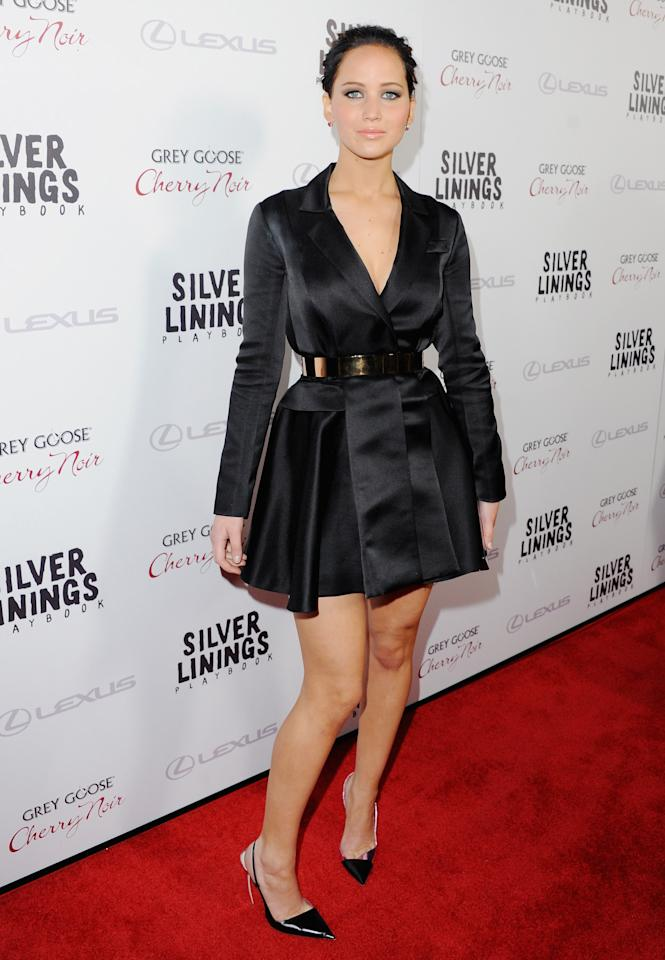 "Jennifer Lawrence arrives at the Los Angeles Premiere ""Silver Linings Playbook"" at the Academy of Motion Picture Arts and Sciences on November 19, 2012 in Beverly Hills, California.  (Photo by Jon Kopaloff/FilmMagic)"
