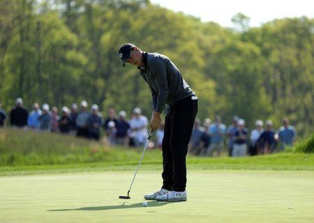 May 17, 2019; Bethpage, NY, USA; Jordan Spieth misses his putt on the 12th green during the second round of the PGA Championship golf tournament at Bethpage State Park - Black Course. Mandatory Credit: Brad Penner-USA TODAY Sports
