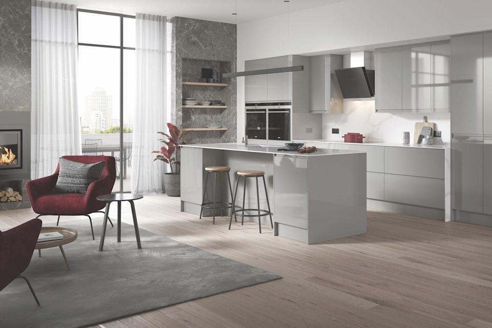"""<p>A high gloss kitchen island is ideal for anyone looking for an ultra modern design. Perfect for creating the illusion of extra space, gloss is as practical as it is stylish. </p><p>• See more from the <a href=""""https://go.redirectingat.com?id=127X1599956&url=https%3A%2F%2Fwww.homebase.co.uk%2Four-range%2Fkitchens%2Fkitchen-ranges%2Fbermondsey&sref=https%3A%2F%2Fwww.housebeautiful.com%2Fuk%2Fdecorate%2Fkitchen%2Fg36940747%2Fkitchen-island-ideas%2F"""" rel=""""nofollow noopener"""" target=""""_blank"""" data-ylk=""""slk:House Beautiful Bermondsey kitchen"""" class=""""link rapid-noclick-resp"""">House Beautiful <strong>Bermondsey</strong> kitchen</a> at Homebase</p>"""