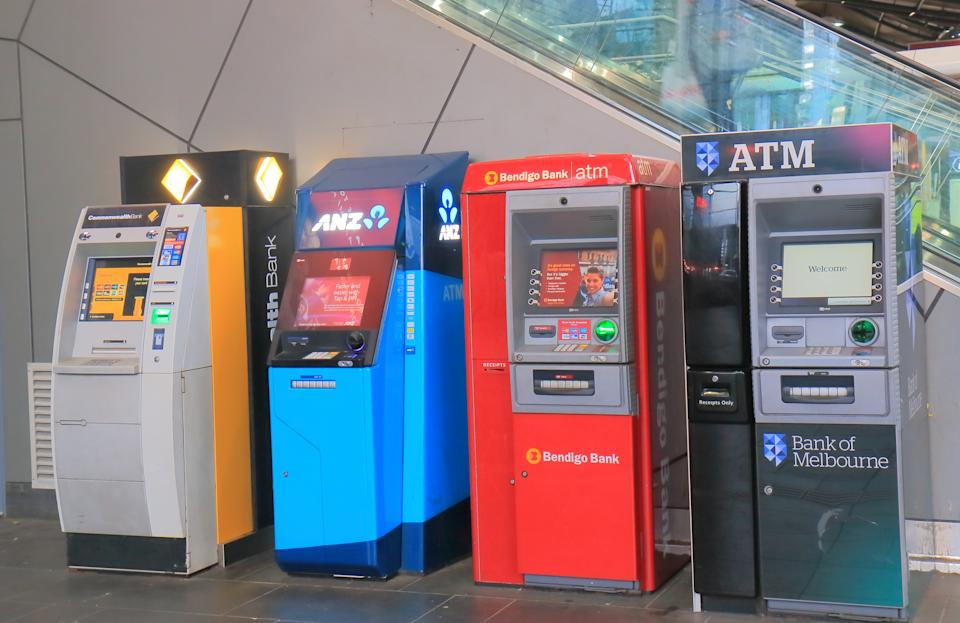 Melbourne Australia - July 2, 2017: ATM cash dispensers at Southern Cross railway station Melbourne.