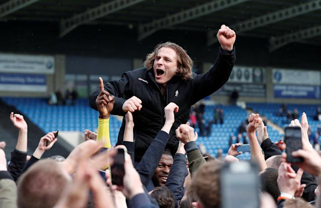"Soccer Football - League Two - Chesterfield v Wycombe Wanderers - Proact Stadium, Chesterfield, Britain - April 28, 2018 Wycombe Wanderers Manager Gareth Ainsworth celebrates after winning promotion Action Images/Paul Childs EDITORIAL USE ONLY. No use with unauthorized audio, video, data, fixture lists, club/league logos or ""live"" services. Online in-match use limited to 75 images, no video emulation. No use in betting, games or single club/league/player publications. Please contact your account representative for further details."