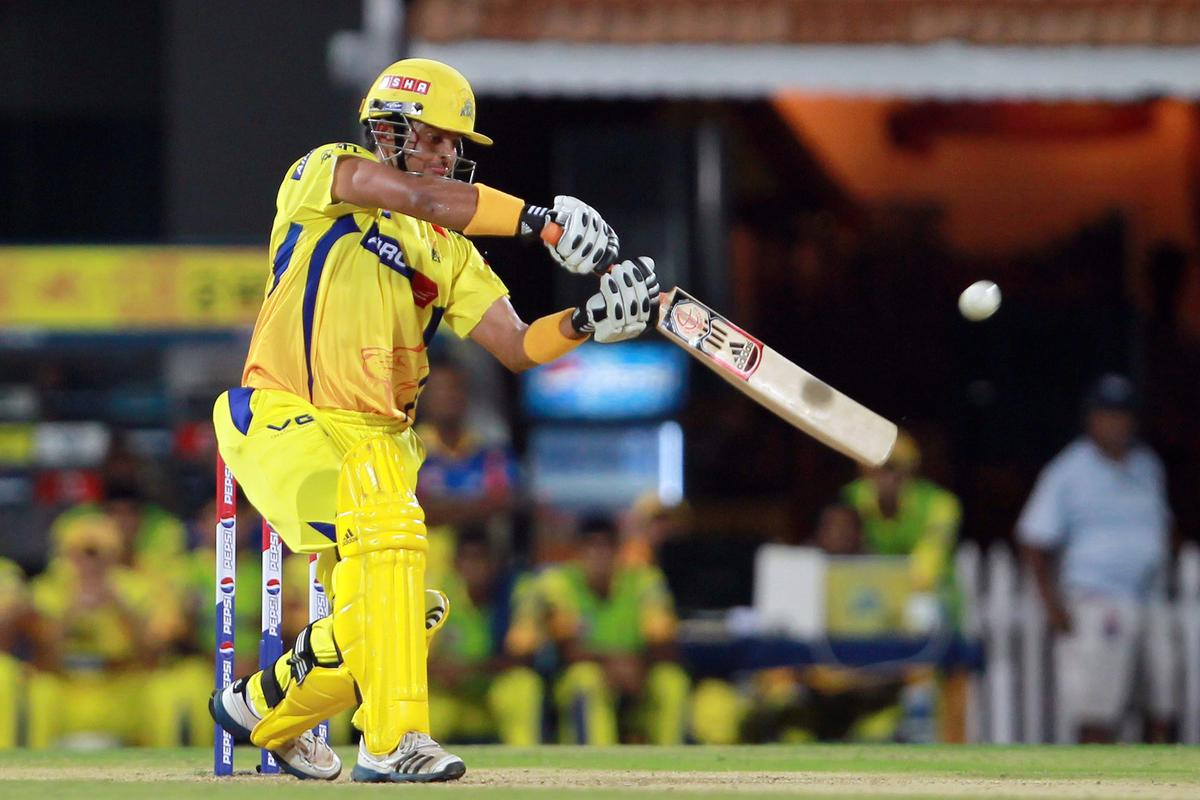 Suresh Raina smashes a delivery for six during match 30 of the Pepsi Indian Premier League between The Chennai Super Kings and the Rajasthan Royals held at the MA Chidambaram Stadium in Chennai on the 22nd April 2013.  (BCCI)