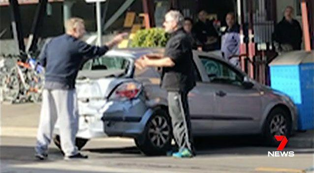 A Melbourne man was arrested after appearing to unleash his full fury on another motorist following a road rage incident. Picture: 7 News