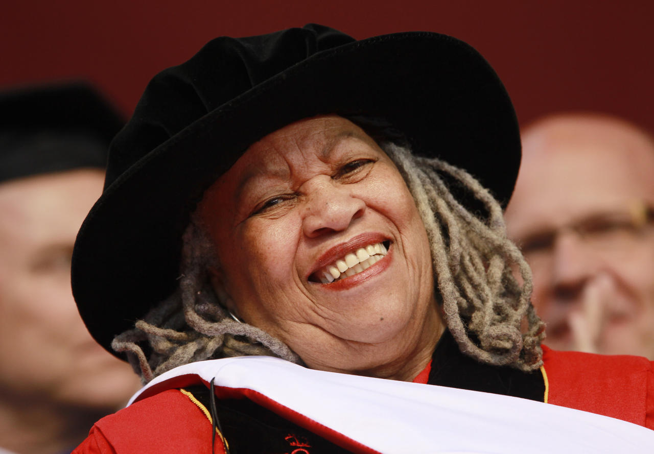 Pulitzer and Nobel Prize winning author Toni Morrison smile after delivering a speech during the Rutgers University commencement ceremony, Sunday, May 15, 2011 in Piscataway, N.J.