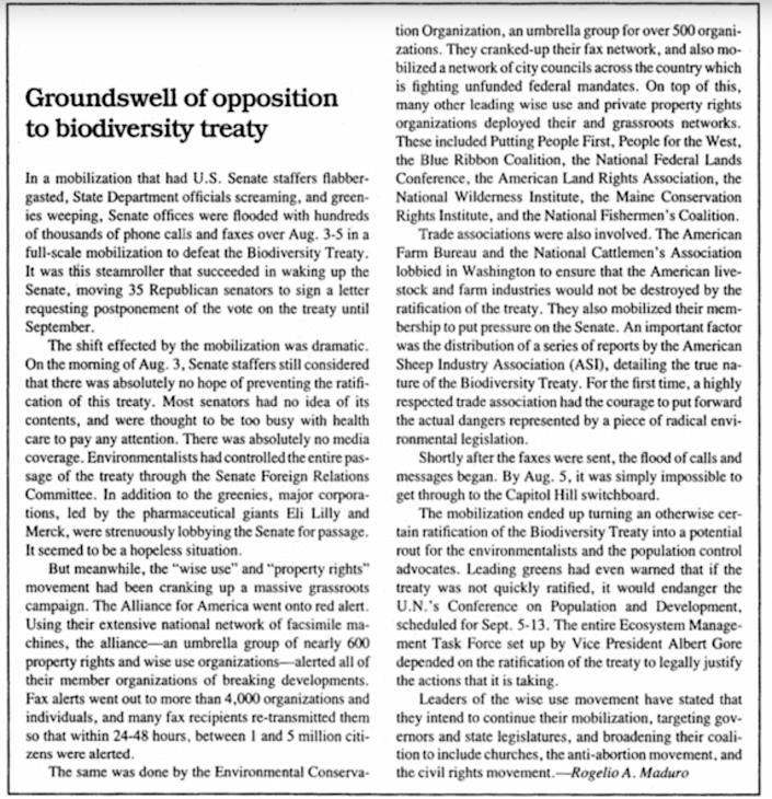 A piece by Rogelio Maduro in the Sept. 2, 1994, issue of Executive Intelligence Review. (Photo: Screenshot/Executive Intelligence Review)