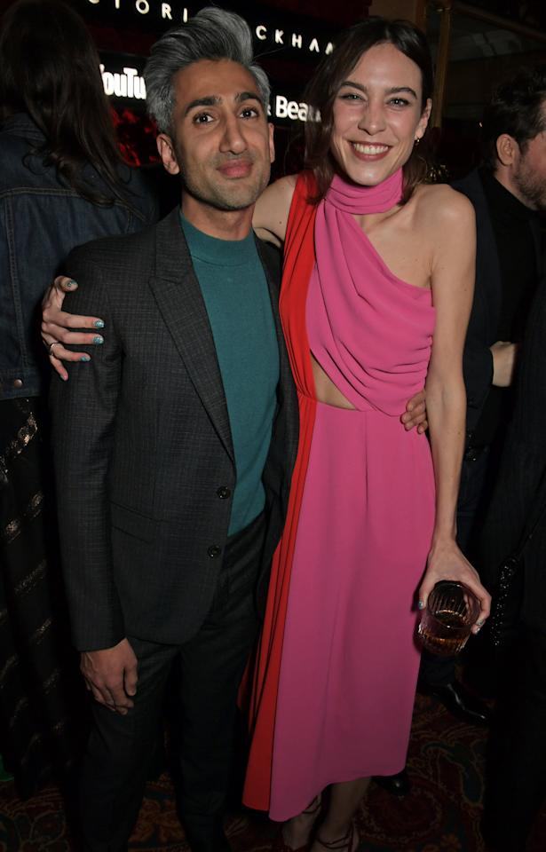 Tan France and Alexa Chung attend the Victoria Beckham x YouTube Fashion & Beauty after party at London Fashion Week hosted by Derek Blasberg & David Beckham at Mark's Club on February 17, 2019 in London, England.