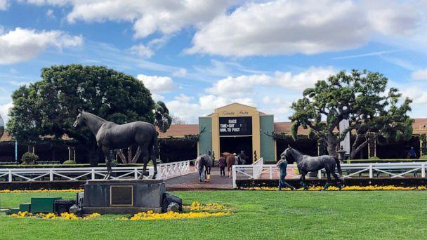 PHOTO: Horses are led to paddocks past the Seabiscuit statue during workouts at Santa Anita Park, in Arcadia, Calif., Thursday, March 28, 2019. (Amanda Lee Myers/AP, FILE)