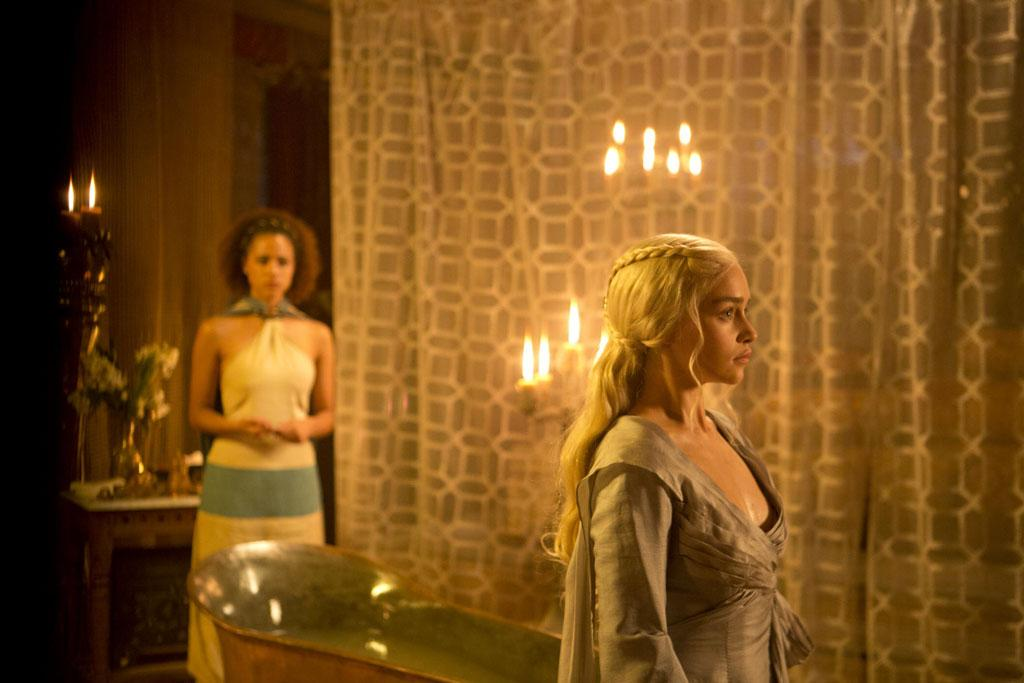 "Nathalie Emmanuel and Emilia Clarke in the ""Game of Thrones"" episode, ""Second Sons."""