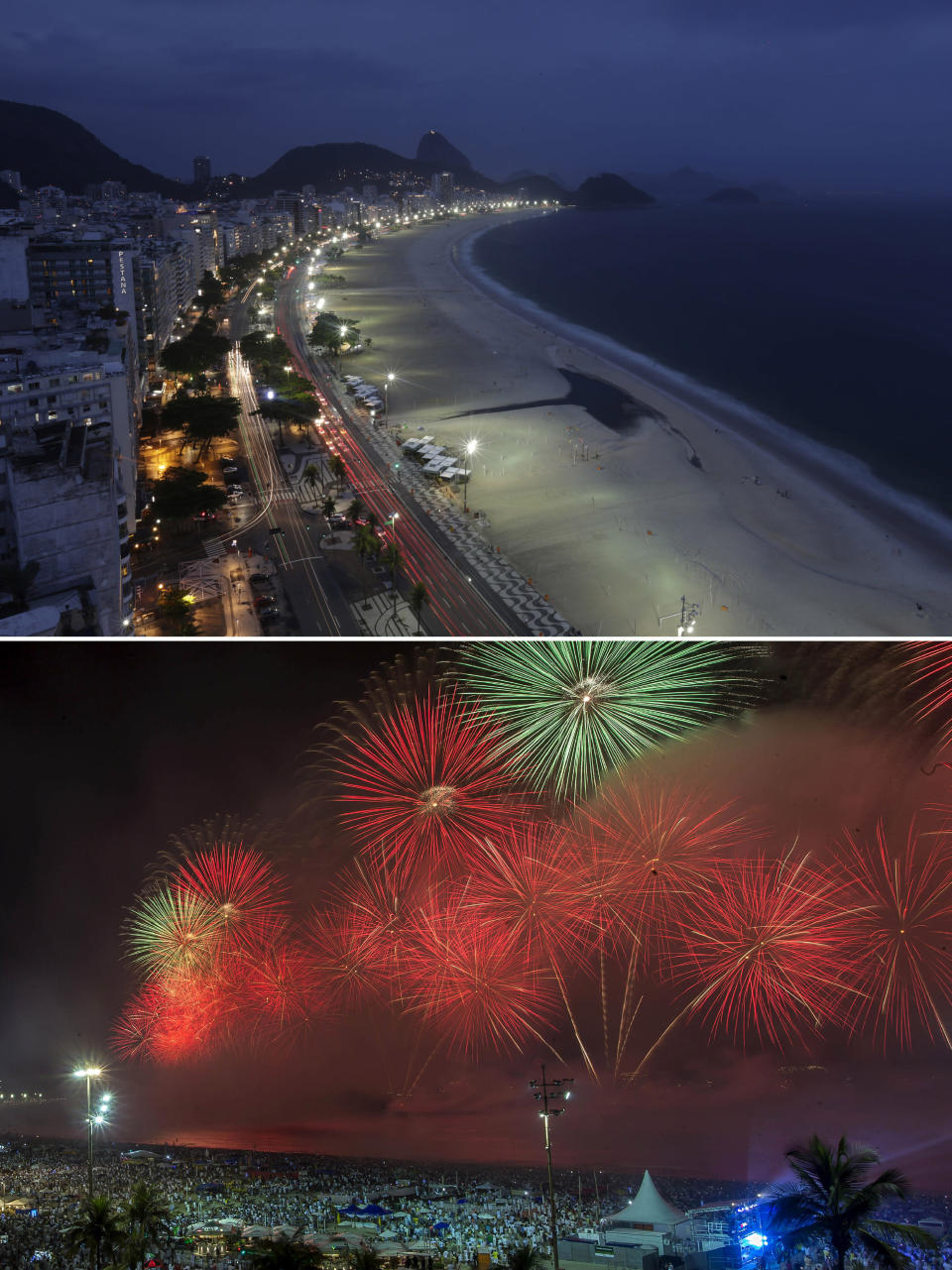 This combo of two photos shows an empty Copacabana Beach amid the COVID-19 pandemic shutdown in Rio de Janeiro, Brazil, Thursday, Dec. 31, 2020, top, contrasted with one year prior, on Jan. 1, 2020, when a crowd watched fireworks on New Year's at the same location. (AP Photo/Bruna Prado)