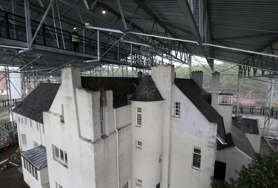 The Hill House has been encased in a giant 'box' to protect it from the elements (Andrew Milligan/PA) (PA Archive)