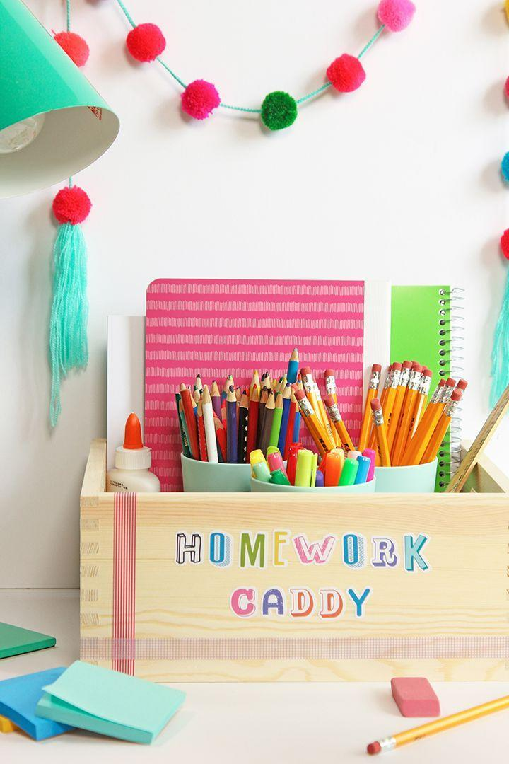 """<p>If they have all the supplies they need ready to go in one place — a cute place, to boot — they'll have one less reason to procrastinate doing their homework. </p><p><em><a href=""""https://www.aliceandlois.com/back-to-school-organization-tips-and-tricks/"""" rel=""""nofollow noopener"""" target=""""_blank"""" data-ylk=""""slk:See more at Alice and Lois »"""" class=""""link rapid-noclick-resp"""">See more at Alice and Lois »</a></em></p>"""