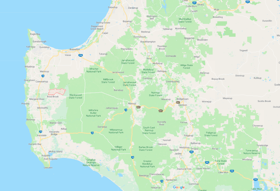 Police responded to the emergency at Osmington near Margaret River. Source: Google Maps