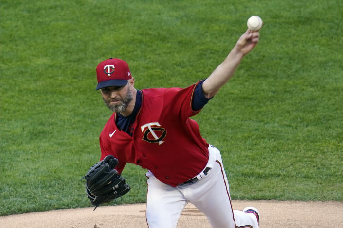 Minnesota Twins' pitcher J.A. Happ throws against the Chicago White Sox in the first inning of a baseball game, Monday, May 17, 2021, in Minneapolis. (AP Photo/Jim Mone)