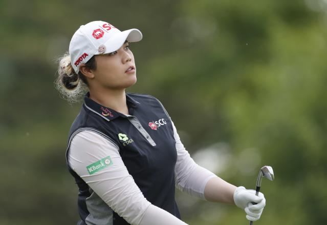 Ariya Jutanugarn of Thailand watches her drive on the fourth tee during the final round of the Dow Great Lakes Bay Invitational golf tournament, Saturday, July 20, 2019, in Midland, Mich. (AP Photo/Carlos Osorio)