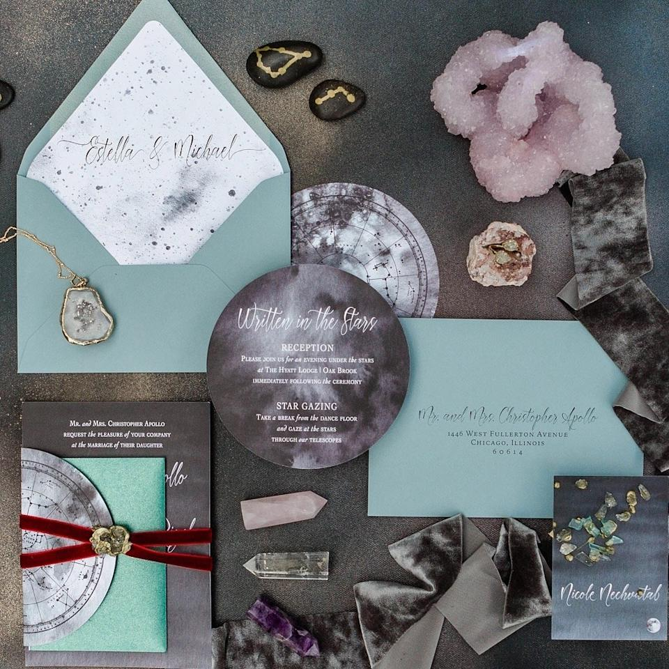 This invitation suite features a mystical lunar motif.
