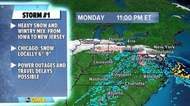 PHOTO: As the storm slides east, it will have some trouble producing snow near the major northeast cities and this likely means that snowfall amounts near Philadelphia and New York will be kept in the low range. (ABC News)