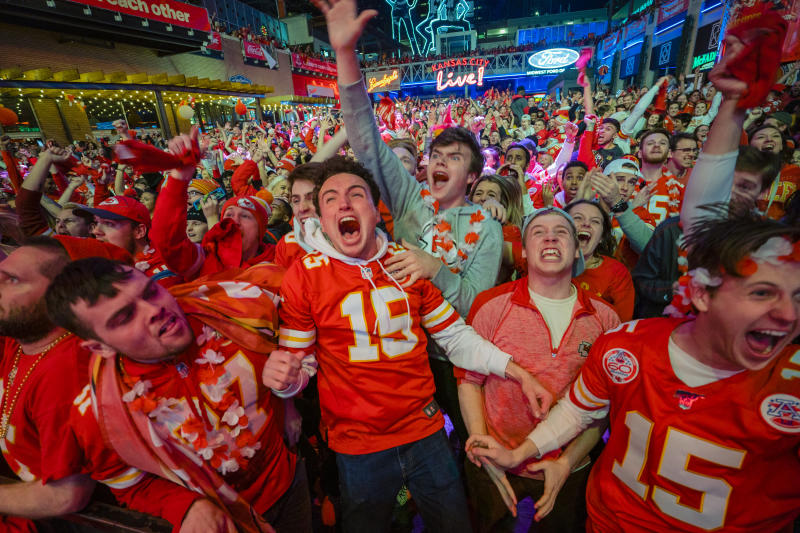 KANSAS CITY, MO - FEBRUARY 02: Chiefs fans celebrate at the Power and Light District as the Kansas City Chiefs defeat the San Francisco 49ers in the Super Bowl on February 2, 2020 in Kansas City, Kansas. (Photo by Kyle Rivas/Getty Images)