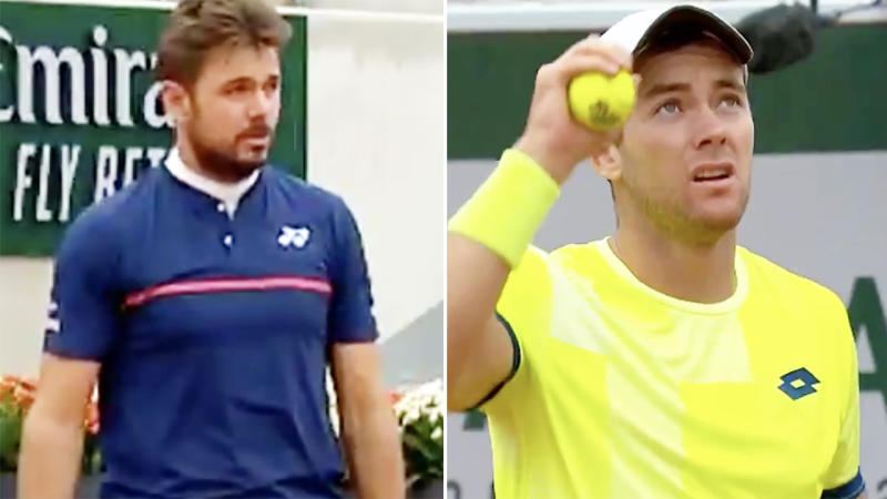 Stan Wawrinka and Dominik Koepfer, pictured here reacting to the frightening noise.