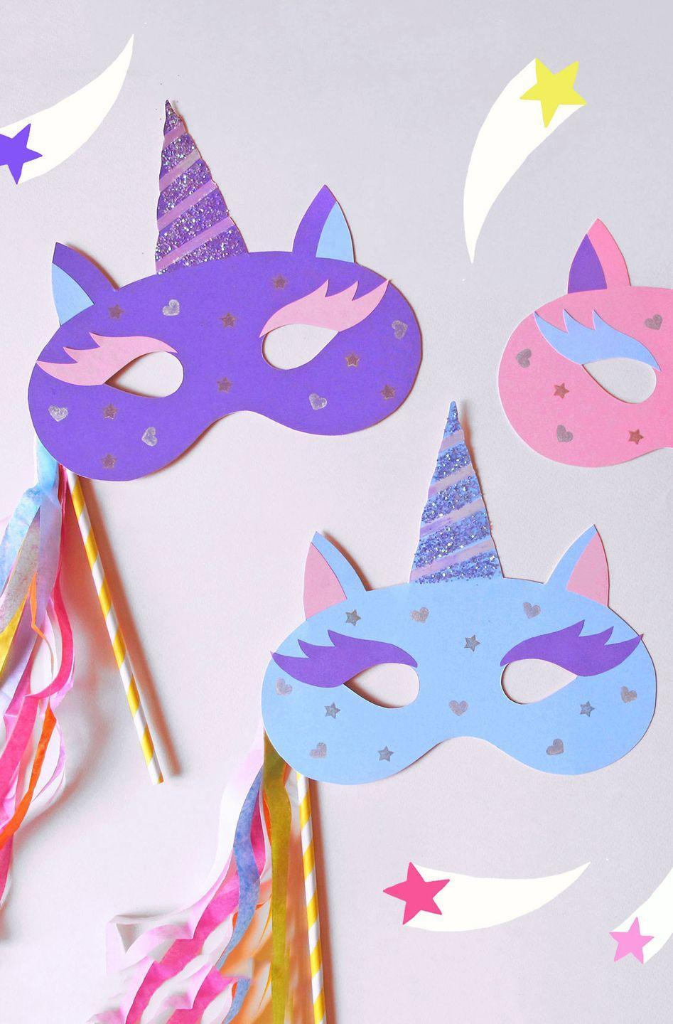"""<p>These glittery unicorn masks are so easy to assemble. No magic necessary!</p><p><strong>Get the tutorial at <a href=""""https://go.redirectingat.com?id=74968X1596630&url=https%3A%2F%2Fwww.paperchase.com%2Fthe-journal%2Fhow-to-make-a-unicorn-mask%2F&sref=https%3A%2F%2Fwww.countryliving.com%2Fdiy-crafts%2Fg3480%2Fdiy-halloween-masks%2F"""" rel=""""nofollow noopener"""" target=""""_blank"""" data-ylk=""""slk:Paperchase"""" class=""""link rapid-noclick-resp"""">Paperchase</a>.</strong></p><p><a class=""""link rapid-noclick-resp"""" href=""""https://www.amazon.com/Card-Stock-Colorful-Assortment-101199/dp/B0006HXSU6/?tag=syn-yahoo-20&ascsubtag=%5Bartid%7C10050.g.3480%5Bsrc%7Cyahoo-us"""" rel=""""nofollow noopener"""" target=""""_blank"""" data-ylk=""""slk:SHOP CARD STOCK PAPER"""">SHOP CARD STOCK PAPER</a> </p>"""