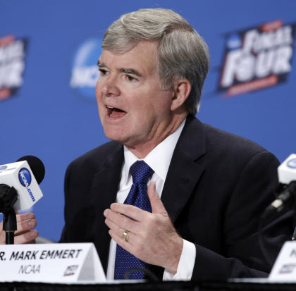 NCAA President Mark Emmert answers questions during a news conference at the Men's Final Four college basketball tournament Thursday, April 2, 2015, in Indianapolis. (AP Photo/Darron Cummings)