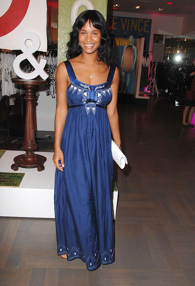 "Joy Bryant's blue dress boasts floral and geometric details. Steve Granitz/<a href=""http://www.wireimage.com"" target=""new"">WireImage.com</a> - May 15, 2008"