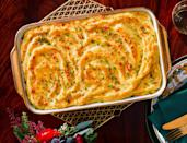 """<p><strong>Recipe: <a href=""""https://www.southernliving.com/recipes/creamy-whipped-potato-casserole"""" rel=""""nofollow noopener"""" target=""""_blank"""" data-ylk=""""slk:Creamy Whipped Potato Casserole"""" class=""""link rapid-noclick-resp"""">Creamy Whipped Potato Casserole</a></strong></p> <p>Browning the butter and using two different starchy potatoes in this recipe helps create the fluffiest mashed potato casserole of all time. Yep, we went there. </p>"""