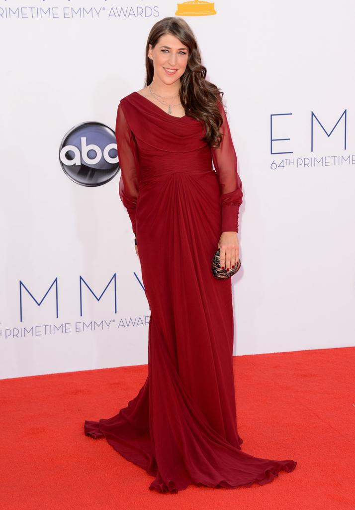 Actress Mayim Bialik arrives at the 64th Primetime Emmy Awards at the Nokia Theatre in Los Angeles on September 23, 2012. (Photo by Jason Merritt/WireImage)