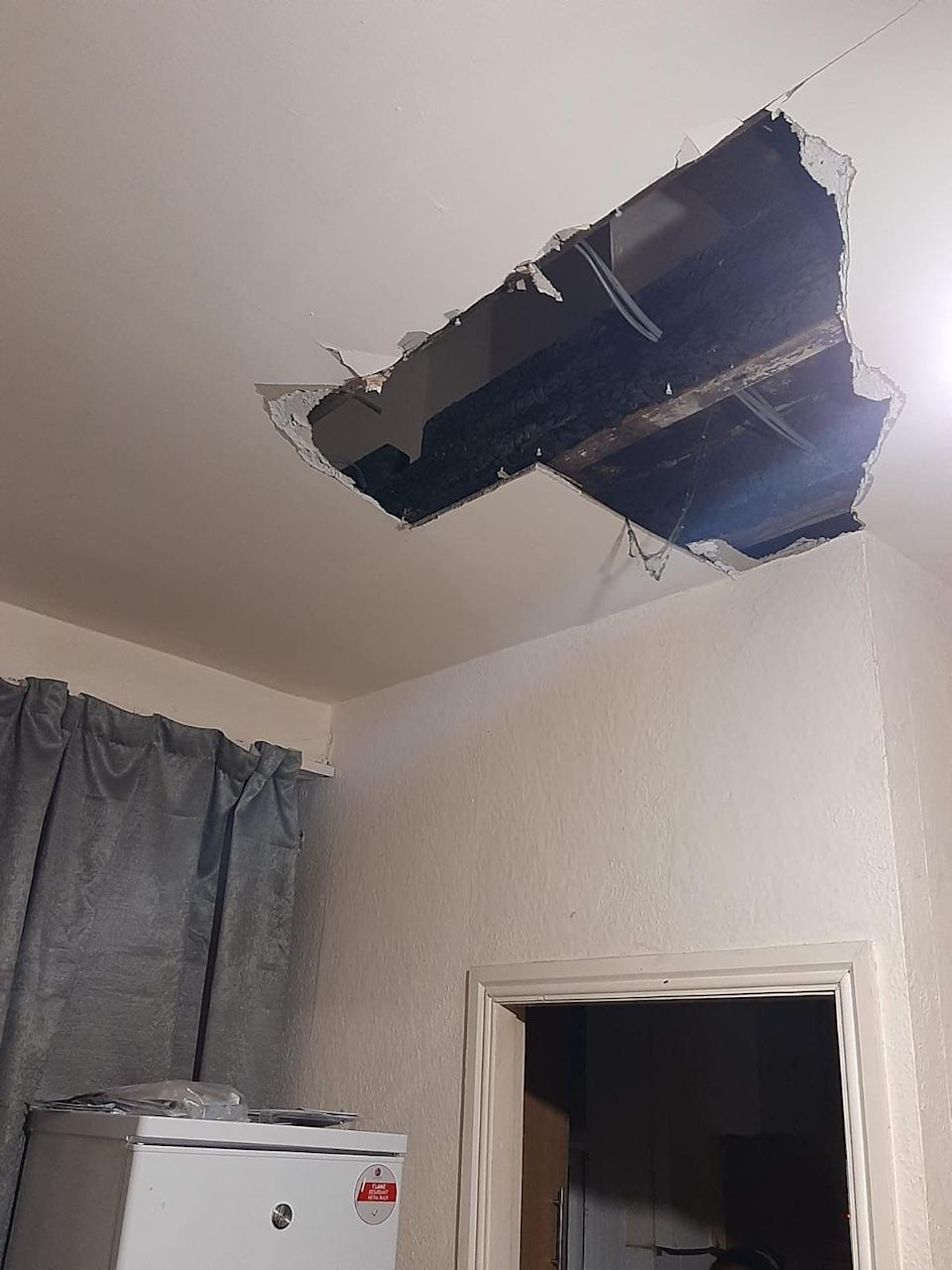 Omeimah's two-year-old daughter was seriously injured when the ceiling - which she had been raising concerns about for months - fell in on her (Refugee Action)