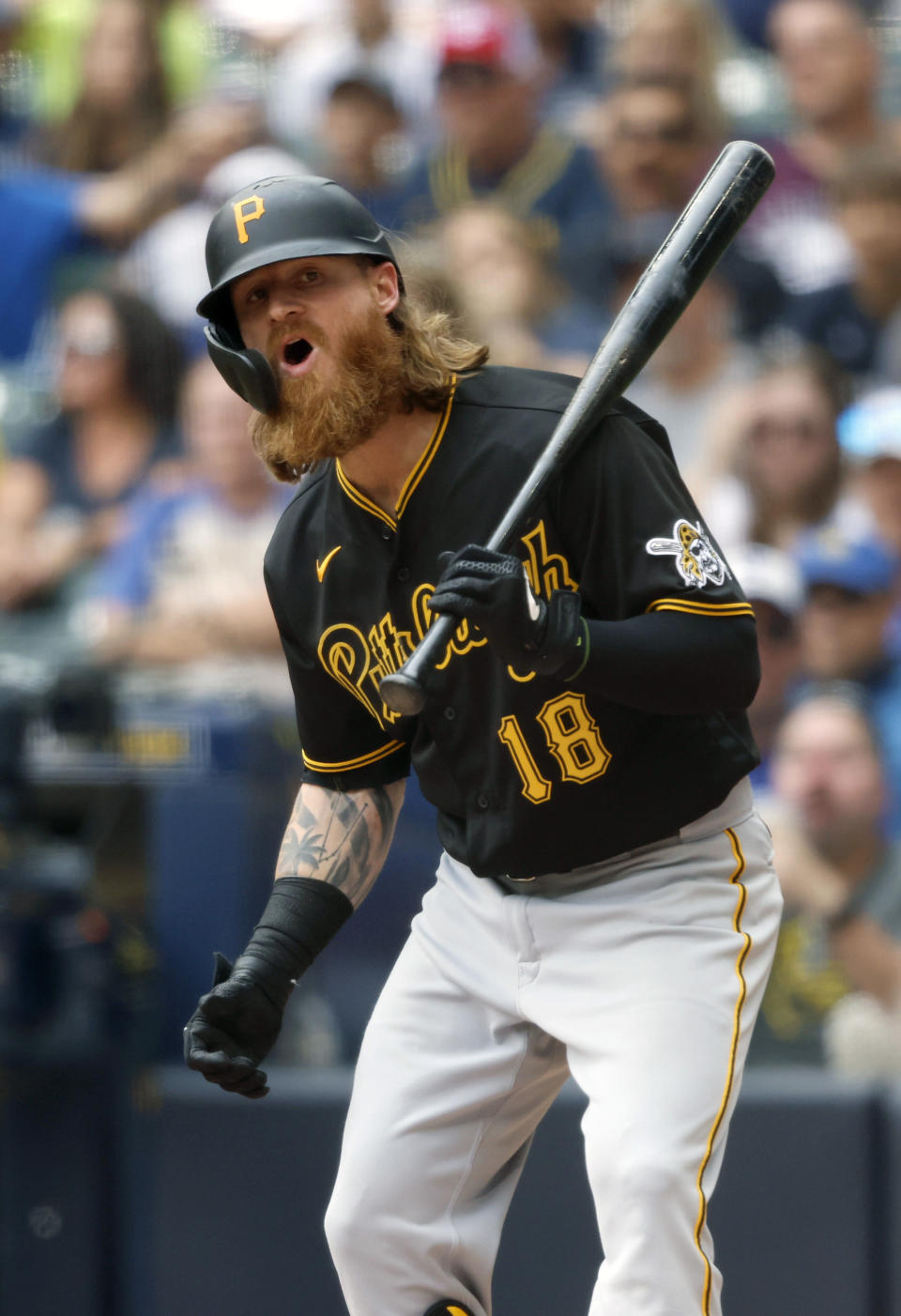 Pittsburgh Pirates' Ben Gamel reacts after a called third strike against the Milwaukee Brewers during the third inning of a baseball game Wednesday, Aug. 4, 2021, in Milwaukee. (AP Photo/Jeffrey Phelps)