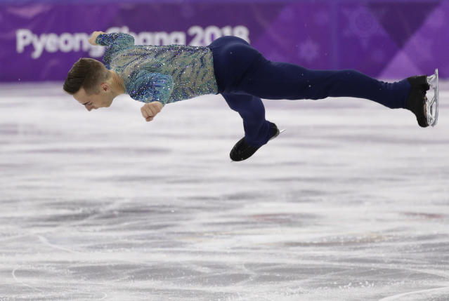 Adam Rippon of the United States performs during the men's free figure skating final in the Gangneung Ice Arena at the 2018 Winter Olympics. (AP)