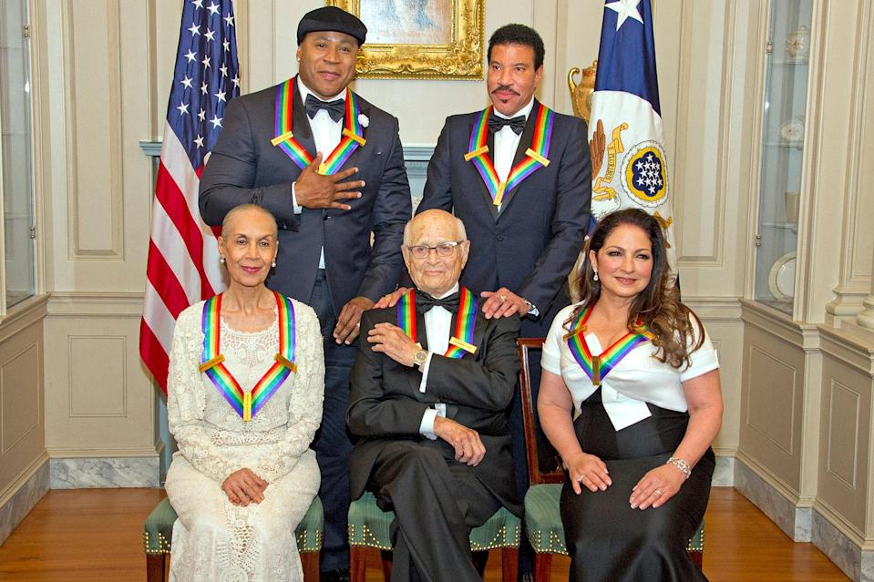 <p>Lear joined LL Cool J, Lionel Richie, Gloria Estefan and Carmen de Lavallade at the 207 Kennedy Center Honors. Lear, an outspoken critic of then-President Donald Trump, didn't plan to attend the event, though ultimately joined his fellow honorees in Washington, D.C., after the president and first lady announced their decision not to attend. </p> <p>The producer — the oldest honoree ever — was lauded by J.J. Abrams, George Clooney, Dave Chappelle and longtime friends Rob Reiner and Rita Moreno.</p>