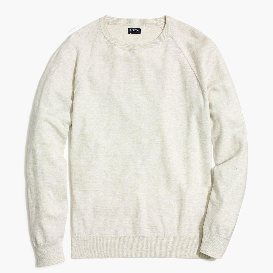 "<p><strong>J.Crew Factory</strong></p><p>factory.jcrew.com</p><p><strong>$34.95</strong></p><p><a href=""https://go.redirectingat.com?id=74968X1596630&url=https%3A%2F%2Ffactory.jcrew.com%2Fp%2Fmens_clothing%2Fnew_arrivals%2Fsweaters%2Fslim-textured-cotton-crewneck-sweater%2FAC316%3Fcolor_name%3Dsubtle-heather-grey&sref=https%3A%2F%2Fwww.esquire.com%2Fstyle%2Fmens-fashion%2Fg35650917%2Fj-crew-factory-sale-february-2021%2F"" rel=""nofollow noopener"" target=""_blank"" data-ylk=""slk:Buy"" class=""link rapid-noclick-resp"">Buy</a></p>"