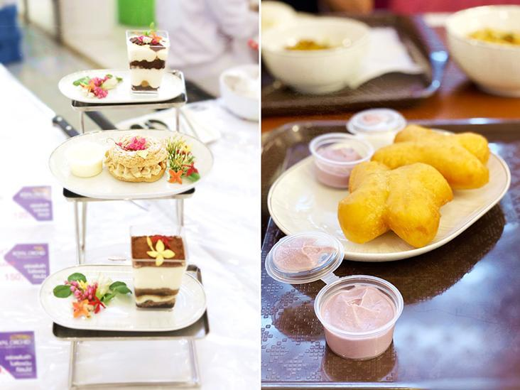 Sweet treats: a three-tier high tea set (left) and 'patongko' or Thai deep-fried crullers (right).