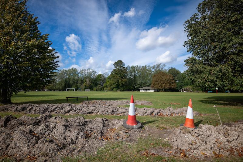 Access to playing fields is blocked off by the trenches (Picture: SWNS)