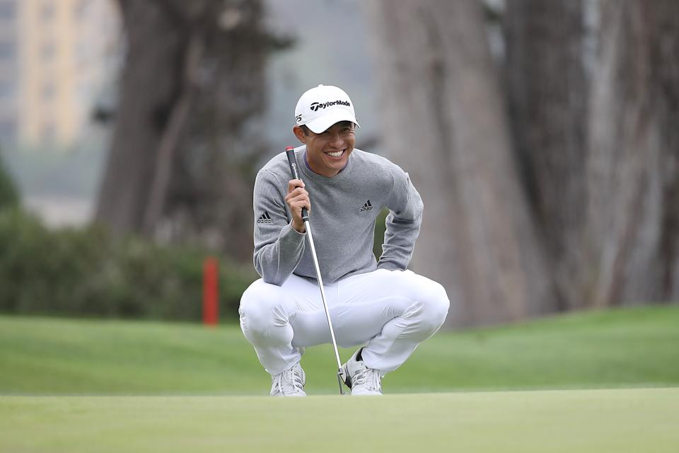 Collin Morikawa prepares to putt for the eagle that will win him the PGA Championship. (Photo by Sean M. Haffey/Getty Images)
