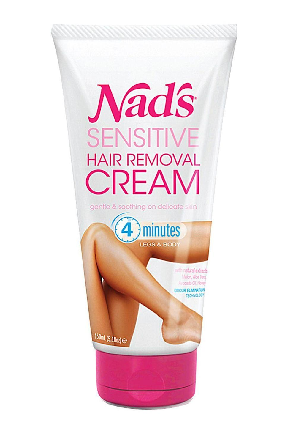 """<p><strong>Nad's</strong></p><p>amazon.com</p><p><strong>$5.79</strong></p><p><a href=""""https://www.amazon.com/dp/B01LW9BC90?tag=syn-yahoo-20&ascsubtag=%5Bartid%7C10049.g.28433811%5Bsrc%7Cyahoo-us"""" rel=""""nofollow noopener"""" target=""""_blank"""" data-ylk=""""slk:Shop Now"""" class=""""link rapid-noclick-resp"""">Shop Now</a></p><p>Your <a href=""""https://www.cosmopolitan.com/style-beauty/beauty/advice/g2921/bikini-area-beauty-products/"""" rel=""""nofollow noopener"""" target=""""_blank"""" data-ylk=""""slk:bikini area"""" class=""""link rapid-noclick-resp"""">bikini area</a> is prone to irritation (as you already know from being a living, breathing human), so if you're going to use a depilatory down there—it has to be packed with hydrating and soothing ingredients, like Nad's formula here. It's made with melon extract, aloe vera, avocado oil, and honey to<strong> help prevent your sensitive bikini-line skin from freaking out and becoming irritated.</strong></p>"""