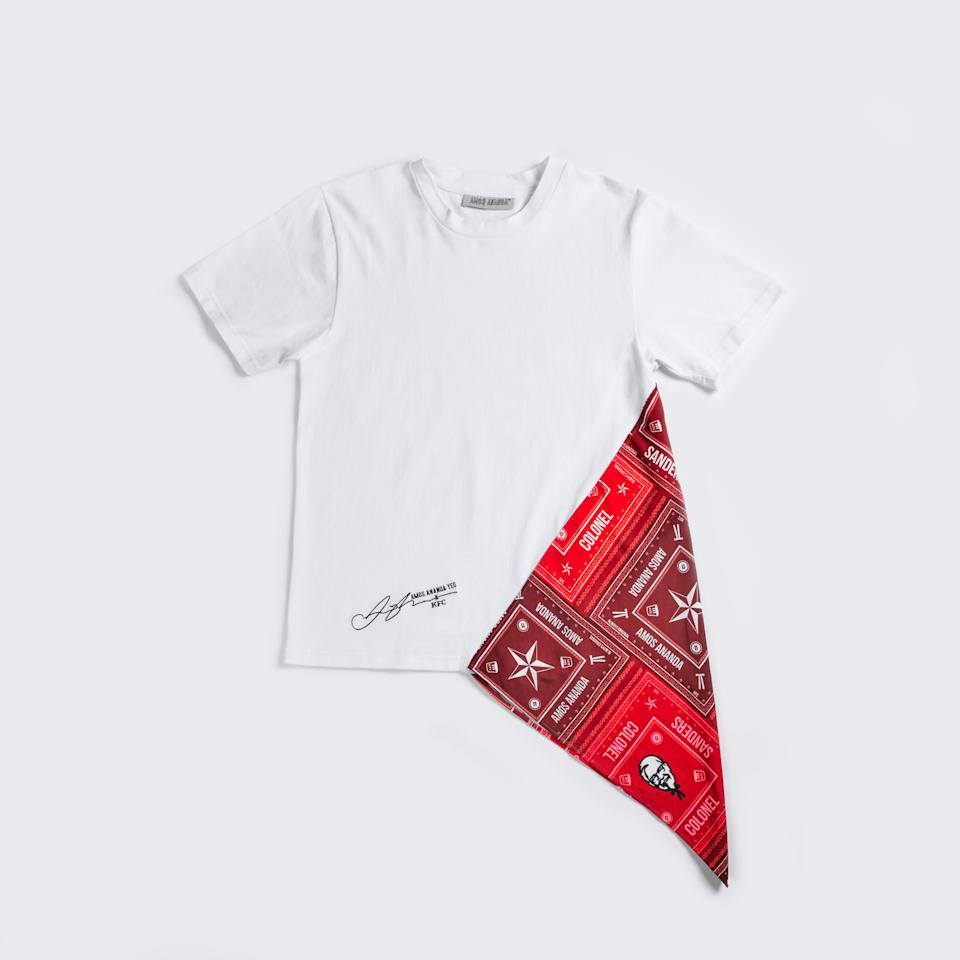 This Asymmetric Colonel Sanders Shirt is super limited, only five pieces up for sale! (Photo: KFC X AMOS ANANDA)