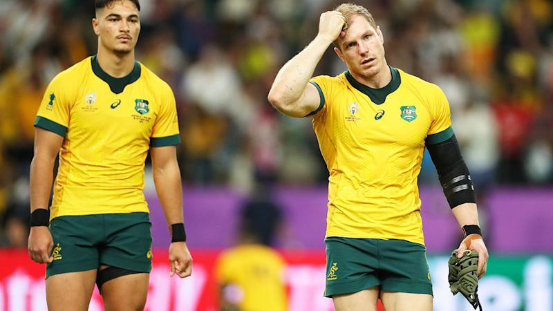 Wallabies players, pictured here leaving the field after their loss at the Rugby World Cup.